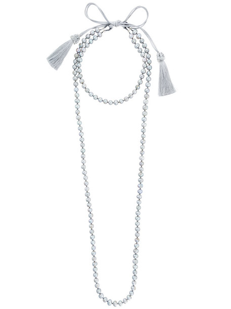 Night Market layered necklace women pearl layered necklace grey jewels