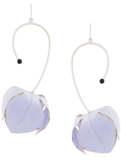 women plastic earrings floral cotton purple pink jewels