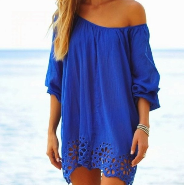 bdcc7e5bacf2 dress blue dress cover up blue off the shoulder dress summer dress summer  outfits summer bikini