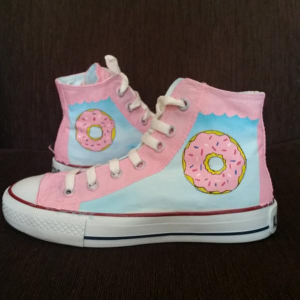 Shoes: pastel blue, donut, pastel pink, kawaii, harajuku ...