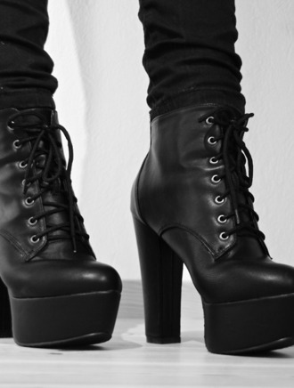 shoes black grunge heel boots combat ankle boots leather sexy