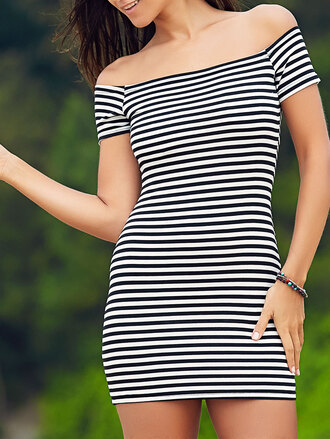 dress casual stripes black and white fashion mini dress off the shoulder style summer spring dressfo