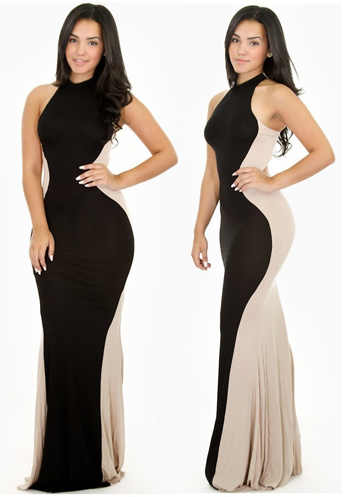 Hour Glass Goddess Black Taupe Maxi Dress