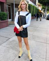 bag,chain bag,crossbody bag,mini bag,sock boots,chanel,romper,faux leather,cropped,white blouse,earrings