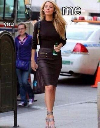 skirt black black leather skirt gossip girl blake lively black pencil skirt