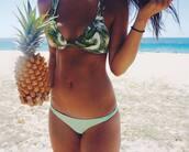 swimwear,palm tree print,bikini top,bikini,criss cross