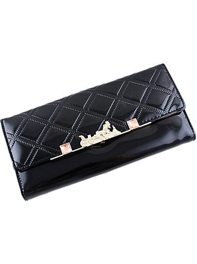 Black Metal Embellished Diamond Pattern Clutch Bag - Sheinside.com