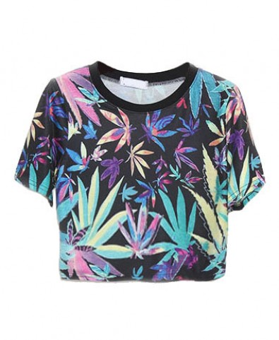 Hemp Fimble Leaf Print Crop T-Shirt