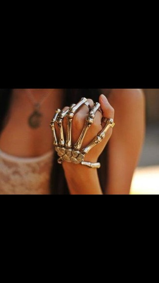 jewels accessory pretty skeleton hand knuckle silver trendy