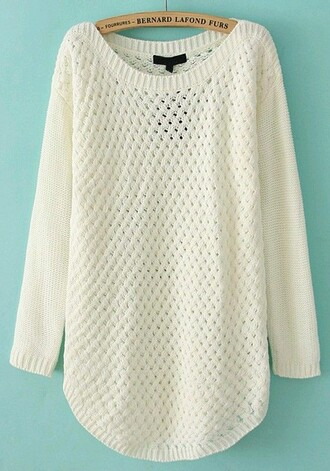 white sweater hollow out acrylic round neck blouse