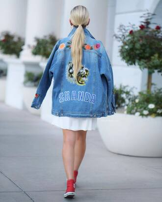 jacket blue jacket converse tumblr denim denim jacket customized dress white dress mini dress sneakers red sneakers red converse shoes