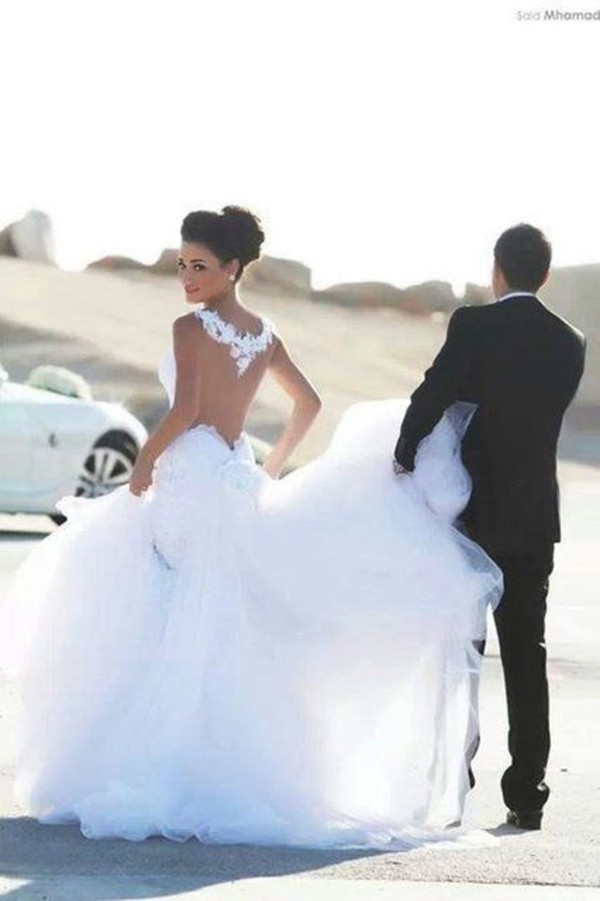 dress wedding dress backless white dress wedding white backless dress backless long pure white detailed dress detailed wedding dress wedding dress white dress princess wedding dresses puffy white wedding dress cute cute dress wedding clothes lace wedding dress
