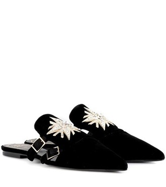 slippers velvet black shoes