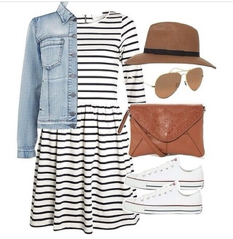 jacket denim jacket hat dress summer dress converse white trainers white sunglasses summer outfits fashion style stylish bag mariniere