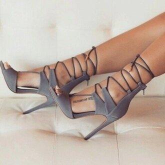 shoes lace up heels sandals sandal heels high heel sandals grey high heels summer shoes going out clubbing  shoes strappy heels strappy fsjshoes