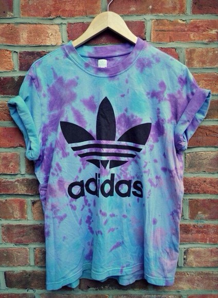 tie dye purple blue shirt adidas top adidas baggy tshirt tshirt