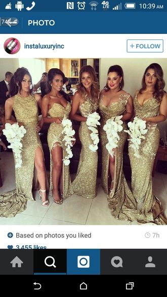dress gold dress gold sequins gold prom dress glitter gown wedding dress bridesmaid bridesmaid dress long long dress long prom dress prom formal formal evening dresses formal dress sparkly dress long bridesmaid dress glitter dress sparkle glitter prom dress