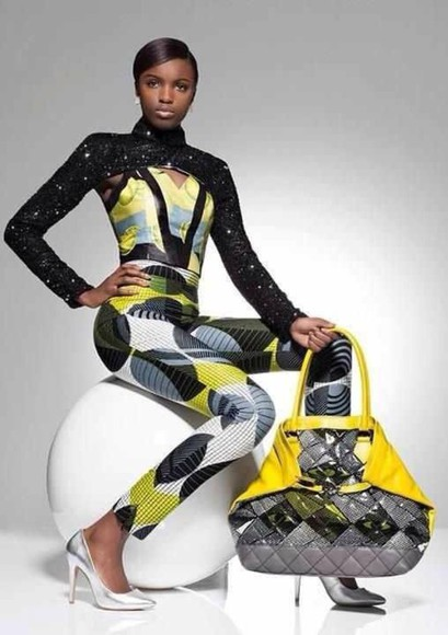 fashion runway skirt catwalk white dress bag jumpsuit lime studio african print african designs handbag jewels shoes high heels yellow pants bodycon dress bodysuit embroidered Vlisco