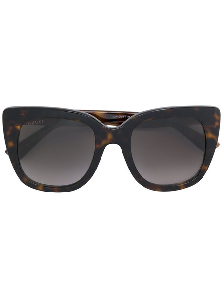 Gucci Eyewear - oversized square frame sunglasses - women - Acetate - 51, Brown, Acetate