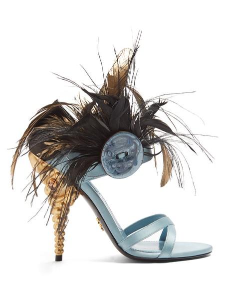 Prada embellished sandals satin blue shoes