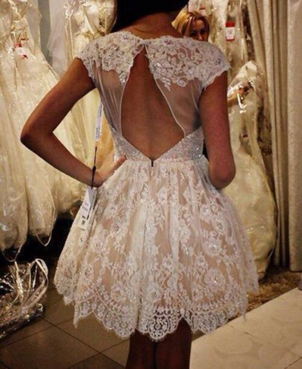 dress white dress lace dress dress white girly beautiful white creme open back prom backless prom dress sparkle lace open back open back dresses