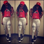 shirt,clothes,teyana taylor,gun leggings,red,air jordan,pants,shoes,leggings,swag,dope,trill,fashion,jordans,hat,snapback,sexy,thug life