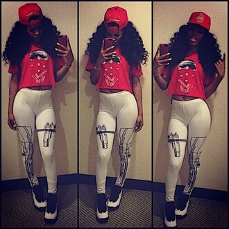 shirt clothes teyana taylor gun leggings red air jordan pants shoes red lime sunday thuggin leggings swag dope trill fashion jordans hat snapback sexy