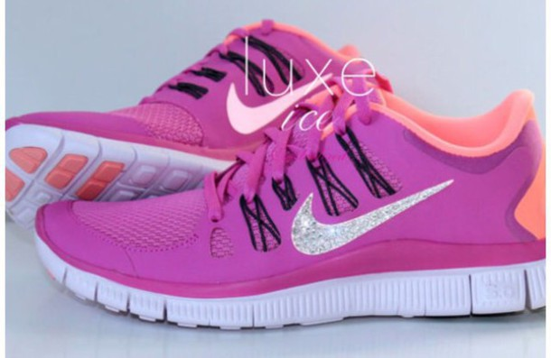 shoes lilac coral black sparklibg nikefree