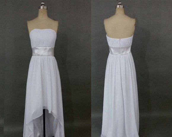 high low formal dress hi-lo formal dress hi-lo bridesmaid dress white bridesmaid dress formal dress bridesmaid gown bridal party dress high low dress high low prom dresses