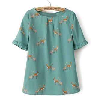 blouse green blouse ruffle sleeves deer deer pattern summer blouse