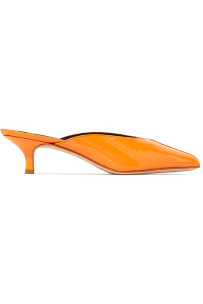 Tibi mules leather orange shoes