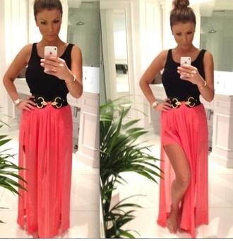 skirt maxi maxi skirt coral open shirt dress maxi dress sexy perfect classy