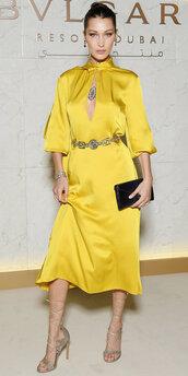 dress,yellow,yellow dress,sandals,belt,bella hadid,model,keyhole dress