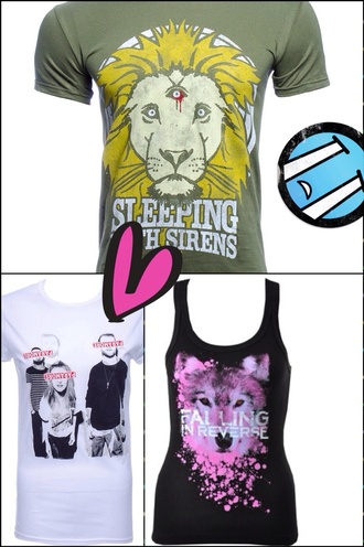 shirt sleeping with sirens paramore wolf falling in reverse t-shirt band t-shirt