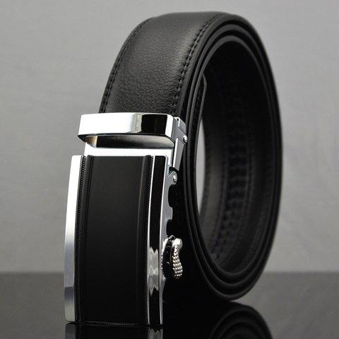 Automatic Buckle Solid Color Men's Faux Leather Belt