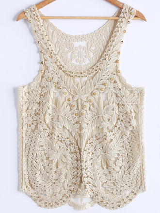 top beach cream beige nude white summer hot embroidered crochet dressfo