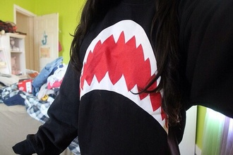 sweater shark teeth black sweatshirt