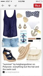 swimwear,navy and white stripe top,blouse,tank top,white bottom,sparkle top,brown belt