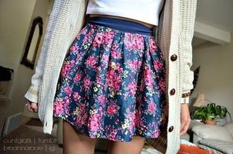 skirt pink blue floral skirt