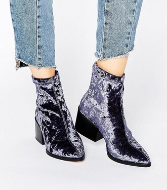 shoes velvet shoes blue velvet boots ankle boots purple shoes