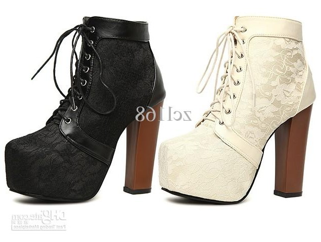 China Mall - buy wholesale Fashion Style Platforms Lace Up Ankle Boots Chunky Heels Womens Shoes
