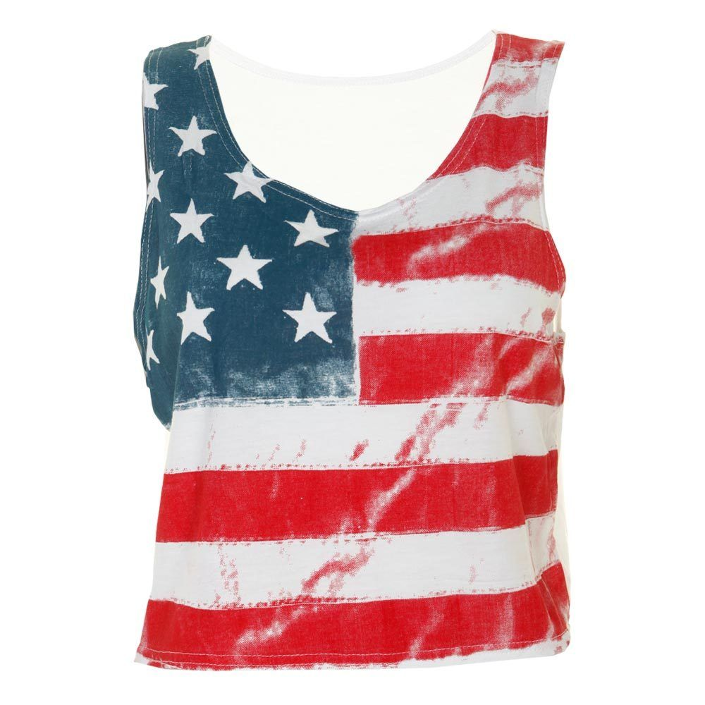 LADIES SLEEVELESS AMERICAN FLAG STARS & STRIPES WOMENS T-SHIRT TEE TOP VEST 8-14 | eBay