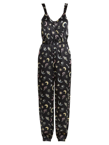 MORGAN LANE Suki brooch-print silk jumpsuit in navy / multi