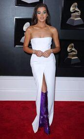 dress,white,white dress,strapless,strapless dress,slit dress,slit,grammys,purple shoes,boots,red carpet dress,shoes