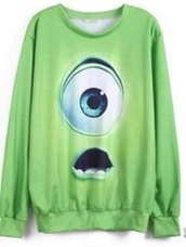 sweater,mike wazowski,green sweater,green jumper monsters inc mike,green,monsters inc.,disney,mike,pixar,cartoon,monsters inc,sweatshirt,eyeball,wazowski,monster,monsters,free shipping,nekori,cute,cheap sweaters,disney sweater,eye,walt disney,crewneck,baggy shirt,shirt,long sleeves,s/m