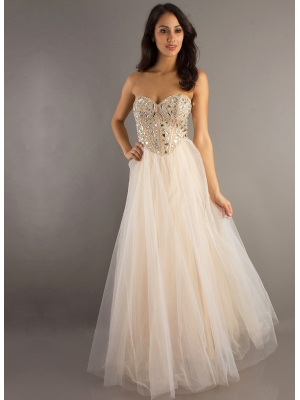 Amazing line tulle rhinestones graduation dress