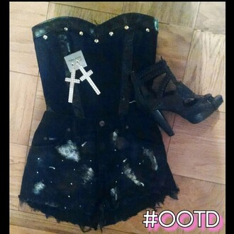shorts galaxy shorts studded bustier gold ootd summer outfits custom shoes shirt