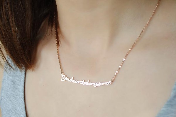 jewels quote on it jewelry necklace stainless steel heart boho bohemian rose gold quote on it