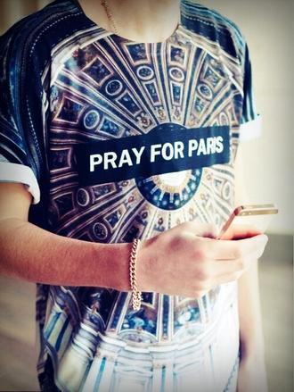 shirt dope kaleidoscope pray for paris black t-shirt gold gold chain blue printing jewels