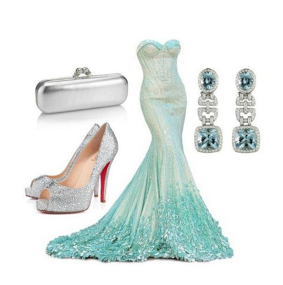 dress gown strapless prom formal silver floral mermaid trumpet light blue blue turquoise aqua aquamarine sweetheart train cream petals flower flower petals wedding dress